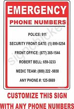 Emergency Phone Number Sign, CUSTOMIZABLE, home safety, business sign, security