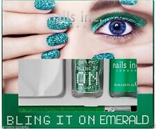 Nails inc London Bling it on Emerald Glitter Nail Polish Green Set