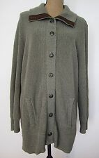 Ralph Lauren Cardigan Sweater olive cotton knit w/brown leather elbow patches 2X