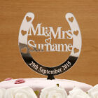 Acrylic Lucky Horseshoe Personalised Mr and Mrs Cake Topper Wedding Keepsake