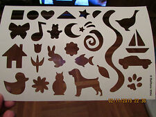 Stencil 9x6 Inch Pets Animals Car Dog Rabbit Star Goose Fish Duck Owl Paw Heart