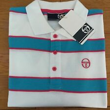 Sergio tacchini coniston polo shirt white/turquoise/pink L large 42/44 bnwt