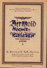 BERLIN, Werbung 1920, H. Berthold AG Schriften Schmuck Messing