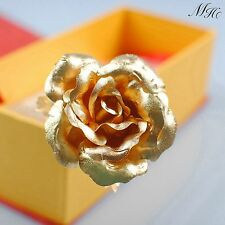 24k Dipped Gold Rose Foil Flowers - Rose-Open (8 Inches) Ornament in Gift Box