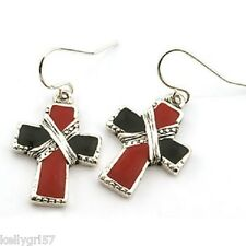 Cross Religious Christian Inspirational Classy Black & Dark Red Earrings #128-E
