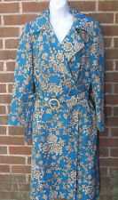 WDNY Blue Floral Silk Long Trench Coat size 8 Belted Jacket Womens