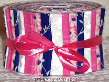 Jelly Roll Strips Quilting Fabric Cotton Sew Pink Cobalt Blue White Floral New