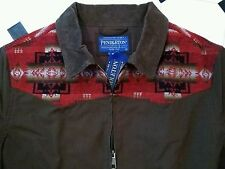 NeW PENDLETON BROWN ZIP JACKET M w WOOL INDIAN BLANKET YOKE & CORD COLLAR shirt