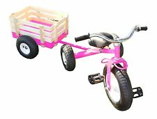 Classic Pink Tricycle with Wagon Set Pull Along Trike Toy Outdoors Kids Exercise
