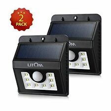 Litom Solar Powered Wireless 8 LED Security Motion Sensor Lamp Outdoor Light 2pk
