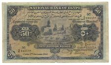 Egypt Egyptian Banknote 50 Pounds 1944 p-15c Nixon Fine Original Rare Money Old