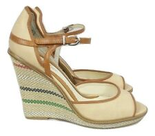 BOHO Wedge Shoes Size 6 Cream Beige Stripes Boho Casual Summer Holiday