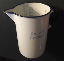 ANTIQUE ENAMEL MEDICAL PITCHER ENAMELWARE KOCKUMS SWEDEN W/ MEASUREMENTS