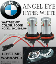 JDM BMW ANGEL EYE E92 H8 HALO RING High Power LED BULBS Head Light 7000K WhD1129