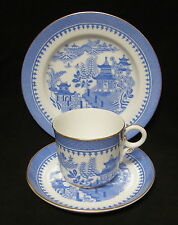 ANTIQUE Royal Worcester WILLOW PATTERN tea cup trio ~ MADE IN 1881