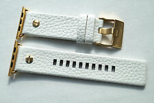LUXURY DIESEL LEATHER BAND STRAP WHITE GOLD FOR APPLE WATCH Series 1 / 2 42MM