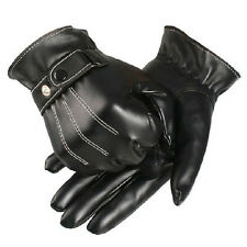 Mens Warm Black Winter Leather Motorcycle Full Finger Touch Screen Warm Gloves