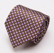 NWT $230 BRIONI Slim Satin Silk Tie Chocolate Brown-Lavender Mini Floral Print