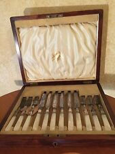 ANTIQUE SILVER WR HUMPHREYS PEARL HANDLED CUTLERY SET IN LOCKABLE WOODEN BOX