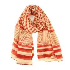 Big Light Thin Houndstooth Striped Spring Summer Scarf Wrap Cover up Beige Wine
