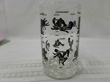 """VINTAGE X RATED HOROSCOPE ASTROLOGY SEX POSITIONS DRINKING BAR GLASS 4 1/4"""" TALL"""