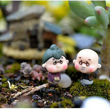 2Pcs Miniature Old Granny Grandpa Christmas Resin Fairy Home Garden Craft Décor