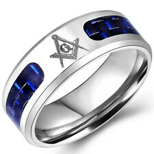SZ 7-14 Stainless Steel Masonic Ring Blue Fiber Freemason Master Knight Templar