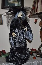 N BELLA LUX BLACK/SILVER WITCH doll Halloween KIMONO DRESS SPIDER LEGS STANDING