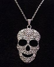 "LRG Sugar Skull Necklace 24""chain day of the dead pendant Flower rose Mexican UK"