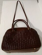 Aigner Purse Shoulder Bag Brown Basket Weave
