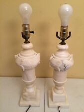 Pair Of Antique Carved Marble Alabaster Table Lamps Leaves And Fruit Works 1930s