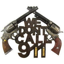 New Funny WE DON'T CALL 911 Home Security Warning Sign Gun Front Door/Wall Decor