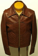 vintage 1960's/70's men's leather jacket coat rocker indie quilted - size 36