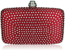 Red Satin and Crystal Covered Hard Case Wedding Prom Party Evening Clutch Bag