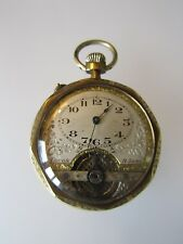 VINTAGE AMIDA FACON 8 JOURS SWISS MADE GOLD TONE PIN-SET 8 DAYS POCKET WATCH