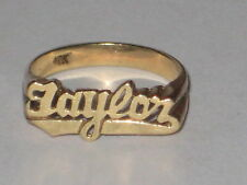 10kt Yellow Gold Custom Made TAYLOR Name Size 4 Pinky Ring 1.2 Grams