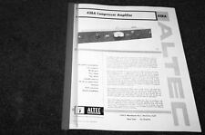 Altec 436 & 438 A&C tube limiter compressor reprint manual