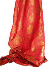 100% Silk Damask. New, Ruby Red & Bronze Drapery Fabric. Floral Jacquard