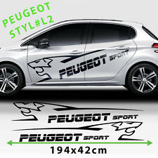 Sport Racing Stripes Logo Stickers Decal For Peugeot 208 Size 194x42 Cm