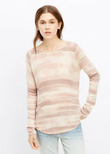 NWT $295 VINCE Peony Pink Impressionist Stripe Cashmere Blend Sweater - L Large