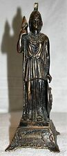 "VINTAGE OLD SPELTER 11"" STATUE OF GREEK GODDESS ATHENA BRONZE PATINA"