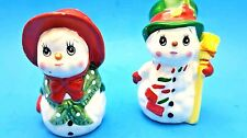 Lefton Snowman and Women  salt and pepper shakers