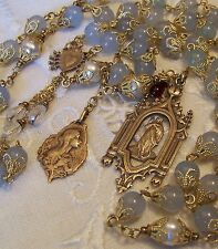 Rosary Mary Magdalene 8mm Aquamarine & Pearls Antique Bronze Handmade