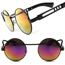 Mainstream Funky Gothic Steampunk Vintage Style Color Mirrored Round Sun Glasses