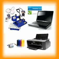 A4 Sublimation Package Laptop Press Printer CISS INKS Set Up Ready To Use