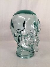 "Glass Skull Head for Wig Hat Display Halloween Green Tint 12"" Spain"