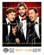 TWO AND A HALF MEN CAST AUTOGRAPHED 8x10 RP PHOTO ALL 3 ASHTON KUTCHER +