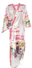 (810305)White Ladies Long Silk Satin Feel Kimono Robe Dressing Gown 12-18 UK