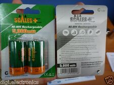 2x C Size Rechargeable Batteries NiMh Ultra High Capacity 5000mAh 1.2V Battery +
