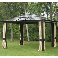 12'x10' Outdoor Hardtop Roof Gazebo Aluminum Metal Patio Canopy With Mesh Walls